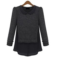 Women's Bodycon/Casual/Work Stretchy Medium Long Sleeve Pullover ( Chiffon/Wool Blends )(1958696) – USD $ 19.79