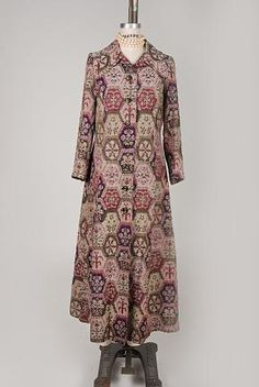 Vintage 70's BROCADE TAPESTRY LONG Coat Originally from London $180.00