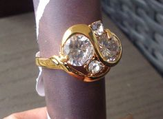 New style 18k yellow Gold plated white cubic zirconia fashion ring good gift