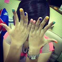 Colorful Nail !! Colorful Nail, Nail Colors, Hair Beauty, Nails, Finger Nails, Tie Dye Nails, Ongles, Multicolored Nails, Colorful Nails
