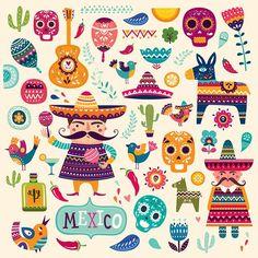 Big Colorful vector collection of Mexican symbols. Illustration set for Dias De Los Muertes. Pattern with symbols of Mexico: skull, flowers, guitar, maracas, Mexican Pattern, Posca Art, Mexican Designs, Mexican Folk Art, Grafik Design, Pattern Art, Vector Art, Art Clipart, Fine Art Prints