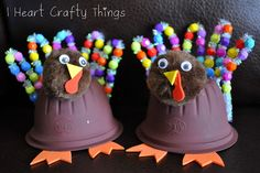 *Thanksgiving Turkey  - plastic fruit cups painted brown, pipe cleaners, beads, felt or fun foam, glue and wiggle eyes