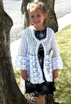 Lacy Girls Crochet Cardigan Sweater lightweight by jamieinthesky,