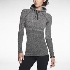 NIKE PRO HYPERWARM FITTED SEAMLESS HOODED PULLOVER IN BLACK HEATHER/COOL GREY