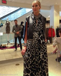 A stunning Roberto Cavalli dress with leather (armless) coat. #nmevents