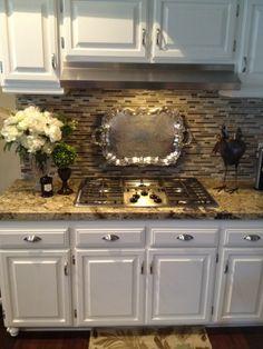 Kitchen Re-Do: white cabinets with darker granite countertops