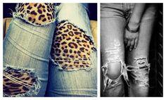 Calça jeans rasgada com estampa