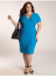 Igigi Dress Plus Size 22 24 Petra Style Blue 3X  Draped Made in USA #Igigi #ALine #WeartoWork