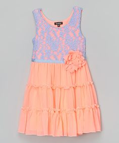 Look at this Zunie & Pinky Blue & Coral Lace Tiered Dress - Girls on today! Girl G, My Baby Girl, Girly Girl, Daddy Daughter Dance Dresses, Coral Lace, Tiered Dress, Frocks, Homecoming Dresses, Kids Outfits