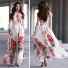 Womens Big Hem Summer Elegant Boho Lotus Leaf Chiffon Flower Maxi Long Dress