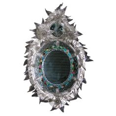 View this item and discover similar for sale at - Exceptional century Venetian mirror with elaborate decoration. Central circle of colored Murano glass and opaline, surrounded by Murano glass leaves. Wood Mirror, Mirror Mirror, Thing 1, Mirrored Furniture, Old Frames, Through The Looking Glass, Venetian Mirrors, Opaline, Murano Glass