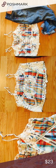 """Free People Plaid Soutache Lace Tank Super cute Plaid tank w/ soutache lace Inset. 19"""" flat bust,22"""" length. Size 10. Cotton . In very good condition. No trades . Free People Tops Tank Tops"""