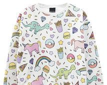 Licorne pull cavalier haut t shirt womens Mesdames filles top tumblr hipster grunge rétro vtg indie boho swag goth pleine impression burger arc-en-ciel