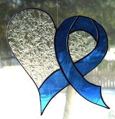 Stained Glass Suncatcher, Textured Art Glass, Heart Handmade Window Decor, Blue Awareness Ribbon