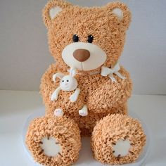Welsh I think we should do a lumberjack birthday cake but a bear smash cake since Dave's first birthday cake was a bear. Teddy Bear Birthday Cake, Teddy Bear Cakes, First Birthday Cakes, Teddy Bears, Fancy Cakes, Cute Cakes, Teddy Bear Baby Shower, Sculpted Cakes, Animal Cakes