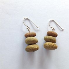 Discover Me : Firecracker Studio : Silver and stone - 3 stack beach pebble sterling silver earrings