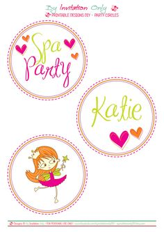 """Spa Party Birthday - 4"""" Party Circles. Printables by ByInvitationOnlyDIY byinvitationonlydiy.etsy.com"""