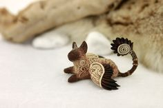 Siamese winged cat figurine Ornament kitty by DemiurgusDreams