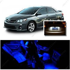 Ameritree Blue LED Lights Interior Package  White LED License Plate Kit for Toyota Corolla 2003-2013 (6 Pieces)