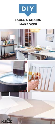 Modern style is just a fresh coat of paint away. This DIY table and chairs makeover uses painter's tape and KILZ Complete Coat Paint and Primer In One to create stylish geometric and color block designs on plain wooden furniture. Click here to get the full easy tutorial and get started on your next home makeover project.