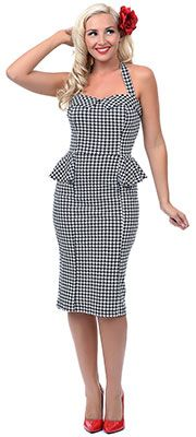 Stop Staring! 1940s Houndstooth Paige Halter Fitted Wiggle Dress