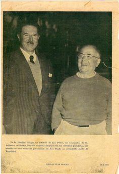 Presidente Getúlio Vargas com o então governador de São Paulo, Adhemar de Barros. Publicado no Jornal das Moças, 1951. Cedido por Viriato Vargas.