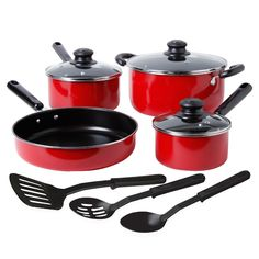 Merville 10-Piece Cookware Set, Red on sale for $20.99 at brendaalix.athome.com