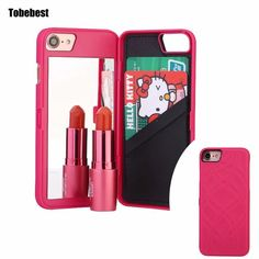 Slim Leather Cosmetic Makeup Mirror Card Slot Phone Cases for iPhone 7 Luxury 3D Rose Wallet Flip Cover Case for iPhone 7Plus