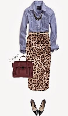 Denim shirt and leopard skirt with cute necklace and purse that pops....YES!!!