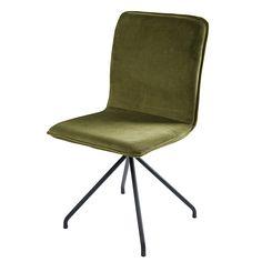 Olive green velvet and black metal chair Ellipse
