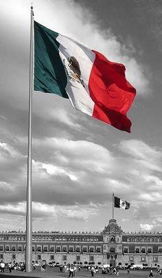 La monumental Bandera de México en la Plaza de la Constitución en la Ciudad de México, D.F.