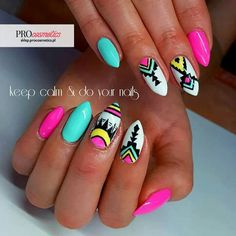 Want to know how to do gel nails at home? Learn the fundamentals with our DIY tutorial that will guide you step by step to professional salon quality nails. Tribal Nails, Neon Nails, Love Nails, Pretty Nails, Fabulous Nails, Perfect Nails, Nail Manicure, Diy Nails, Colorful Nail Art