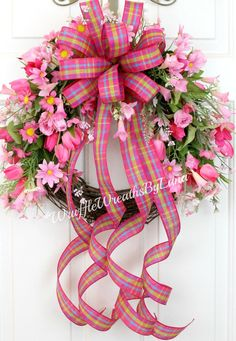Pink Spring Grapevine Wreath, Pink Floral Grapevine Wreath, Spring Grapevine Wreath, Pink Easter Wreath, Mother's Day Wreath by WruffleWreathsbyLana on Etsy