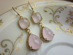 Pink Opal Earrings Gold Pink Earrings Teardrop Glass - 14k Gold Filled Earwires - Bridesmaid Earrings Wedding Earrings. $39.00, via Etsy.