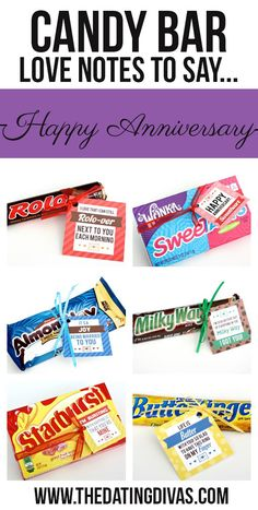 Free printable candy bar gift tags! The perfect quick, easy, and SWEET Anniversary Gift! Hide them around them house or stick them all into a candy bouquet or gift basket. www.TheDatingDivas.com