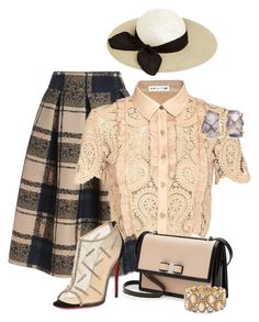 """""""Self Portrait Paisley Lace Crop Blouse"""" by andreaaitken ❤ liked on Polyvore featuring self-portrait, Christian Louboutin, Salvatore Ferragamo, Melissa Joy Manning, Eugenia Kim and Chico's"""