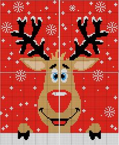 Jacquard grid for knitting your ugly Christmas sweater! You will find the grid in several formats of this pretty Christmas reindeer diy funny tattoo bonitos cachorros graciosos Cross Stitch Christmas Cards, Xmas Cross Stitch, Cross Stitch Baby, Cross Stitch Flowers, Christmas Cross, Cross Stitch Charts, Cross Stitch Designs, Cross Stitching, Cross Stitch Patterns