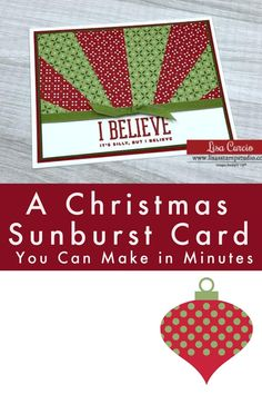 This is a FUN Christmas card to make! A Christmas sunburst card you can make in minutes. Let me show you how at www.LisasStampStudio.com #christmassunburstcard #handmadechristmascards #christmascardideas #cardmaking #cardmakingtutorials #lisasstampstudio #lisacurcio #stampinup #stampinupcards Card Making Templates, Card Making Designs, Card Making Tutorials, Card Making Techniques, Fun Fold Cards, Cool Cards, Folded Cards, Craft Fair Ideas To Sell, How To Make Greetings