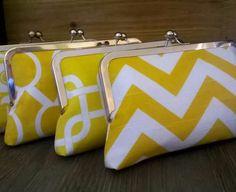 Yellow Bridesmaid Clutch Set- Cornflower Bright Yellow Themed Wedding Handmade Bags by EllseeDesigns