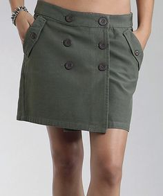 Look at this #zulilyfind! Olive Canvas Wrap Miniskirt - Women #zulilyfinds