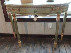 Half moon green and gold hand painted table! $390