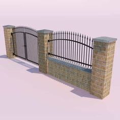 Forging Fence and Gate Model in Environment Cast Iron Gates, Cast Iron Fence, Old Brick Wall, Brick Fence, Classic Fence, Wrought Iron Fences, Lattice Fence, Entry Gates, Modern Fence