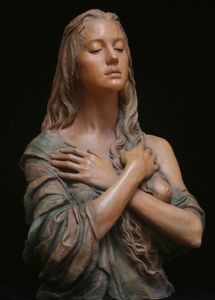 This sculpture was sculpted by Anna and painted by Jeff. This is one of Anna& series of Magdalenas. There is terra cotta version and a bronze version. Mary Magdalene And Jesus, Traditional Sculptures, Sculpture Head, Lady Of Lourdes, Madonna And Child, Sacred Art, Religious Art, Erotic Art, Portrait