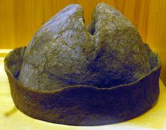 Felted wool hat in the Novgorod Archaeological Museum, Russia. From Michael Fuller's page of Medieval Novgorod Textiles!