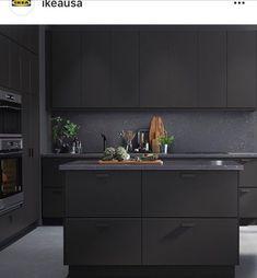 black and grey kitchen