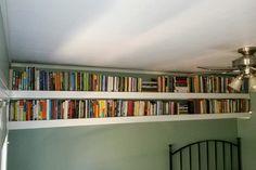 13-ft wall-to-wall bookshelves