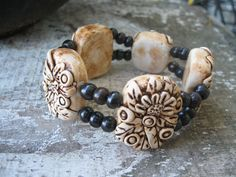 hand sculpted Polymer Clay bracelet with antiqueing.   Christina Kosinski Designs
