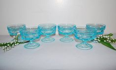 Vintage Dishes Aqua Pedestal......Six by CheekyVintageCloset, $32.00