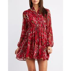 Charlotte Russe Floral Button-Up Shirt Swing Dress ($23) ❤ liked on Polyvore featuring dresses, multi, pleated chiffon dress, red floral dress, swing dresses, floral dresses and floral chiffon dress