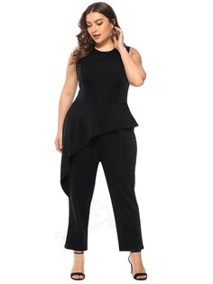bd85708c45df New Women OL Ladies Casual Plus Size Falbala Sleeveless Romper Summer  Jumpsuit afflink
